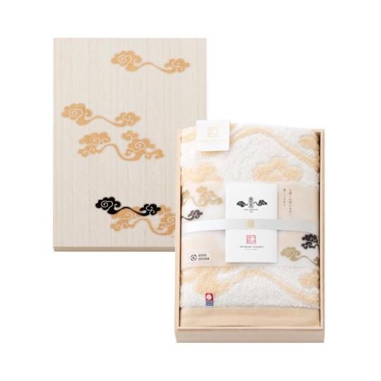今治謹製 雲母唐長(KIRA KARACHO)タオル 木箱入り コンパクトバスタオル1枚 KK79030 ベージュ(天平大雲) (今治製)