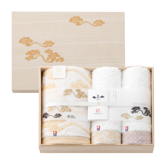 今治謹製 雲母唐長(KIRA KARACHO)タオル 木箱入り ロングフェイスタオル2枚・コンパクトバスタオル1枚 KK79070