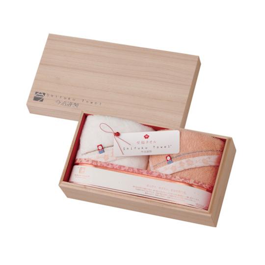 今治謹製 至福タオル(梅染め) 木箱入り フェイスタオル2枚セット SH3430 (今治産)