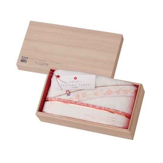 今治謹製 至福タオル(梅染め) 木箱入り バスタオル1枚 SH3435 ホワイト(今治産)